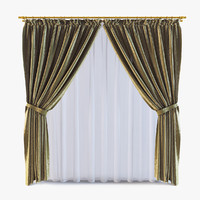 3d model curtains v-ray silk