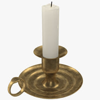 3d model antique brass candle holder
