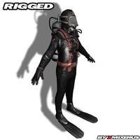 3d scuba diver rigged model