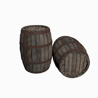 wooden barrel obj