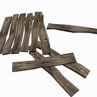 3d model low-poly old wooden planks