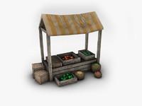 3d model market stand