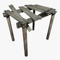 bridge wood 3d obj