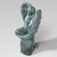 bronze statue angel 3d obj