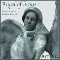 bronze statue angel 3d x