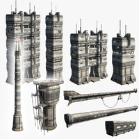 sci-fi towers set 3d max