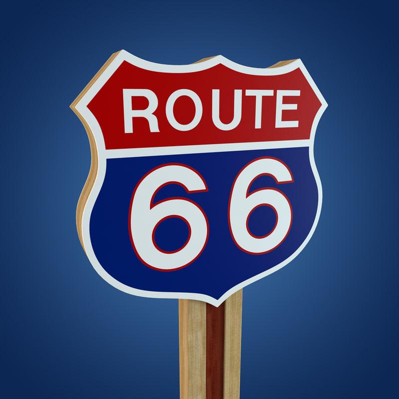 3d route 66 sign model. Black Bedroom Furniture Sets. Home Design Ideas