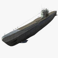 3d german type vii u-boat model