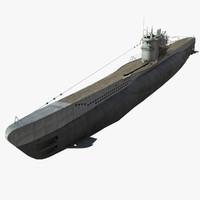 3d german type vii u-boat model