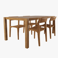 maya realistic stria table chairs