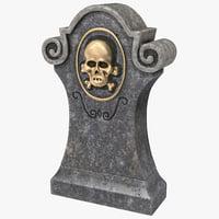 halloween gravestone 01 3d x