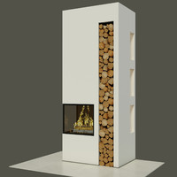 3ds max fireplace wood bookcase