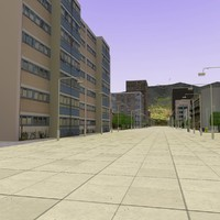 3d c4d pedestrian shopping street city