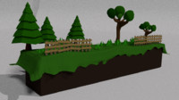 3ds max cartoon 2d landscape