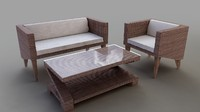 realistic rattan furniture group 3d model