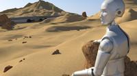 3d planetary desert scenario robot