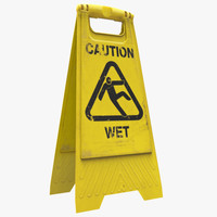 3d model of caution sign