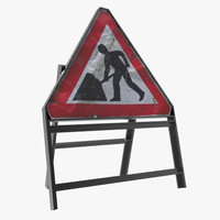 construction sign 3d x