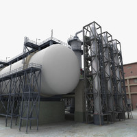 isometric refinery 3d max