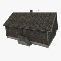 log cabin cottage obj
