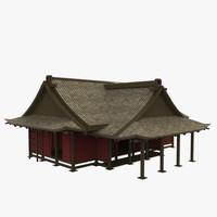 modular asian building 3d fbx