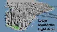 lower manhattan island 3d model