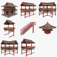 3d modular asian temple model
