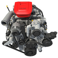 3d model car engine modeled