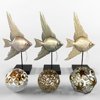 bronze fish decor 3d model
