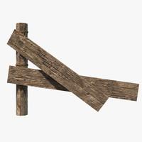 3d wooden fence model