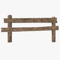 3d fbx wooden fence
