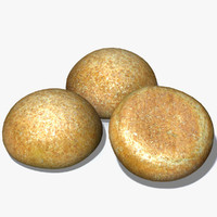 3d model crusty brown roll