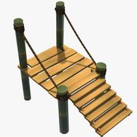 3d bamboo bridge platform model