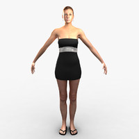 3d model woman rigged