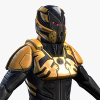 3d model of sci-fi armor male character