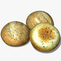 3d sesame seed bread roll model