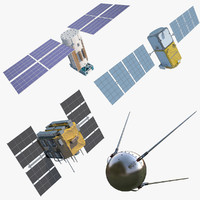 3d satellites gps galileo model