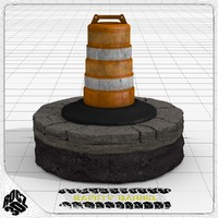 3d safety traffic barrel model
