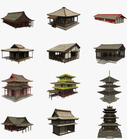 3d modular asian buildings