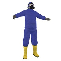 3d model hazmat worker man