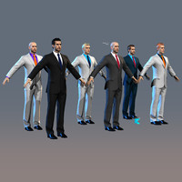 3d model man suit characters color