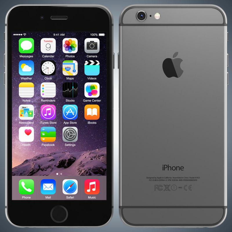 apple iphone 6 space 3d model. Black Bedroom Furniture Sets. Home Design Ideas