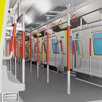 cartoon subway train 3d obj