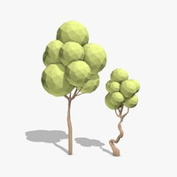 cartoon trees toon 3d model