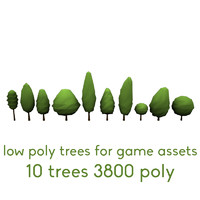 3d trees polygons assets