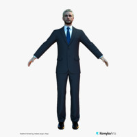 3d man suit characters real-time model