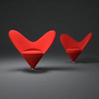 3d model verner-panton-heart-cone-chair