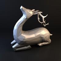 free deer statue 3d model