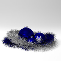christmas balls tinsel 3d model