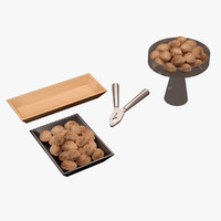 3d max kitchen accessorie walnuts